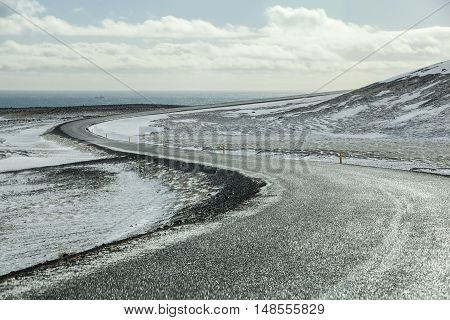 Wet And Slippery Road In Iceland, Wintertime