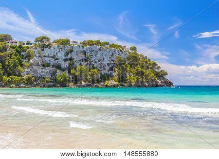 View on Mirador Sa Punta cliff from Cala Galdana beach, Menorca island, Balearic islands, Spain.
