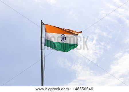 National Flag Of India On A Flagpole