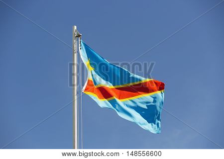 National Flag Of Congo On A Flagpole