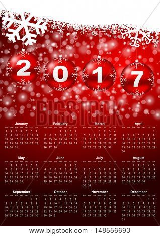2017 year callendar with christmas balls and snowflakes