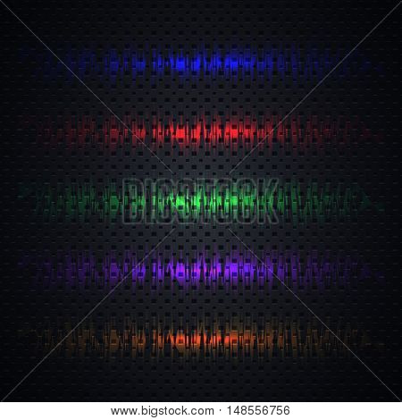 Collection of bright colored light effects on black background. Template glowing elements flash glitter sparkle. Design material blurry textures and banners. Vector illustration.
