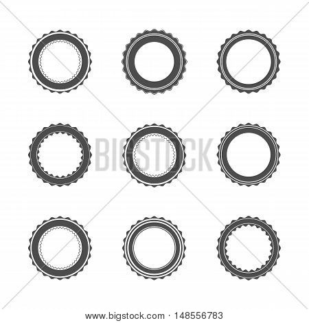 Set of nine gray different emblems isolated on white background in vintage retro style. Template for seals and stamps material for logo vector illustration.