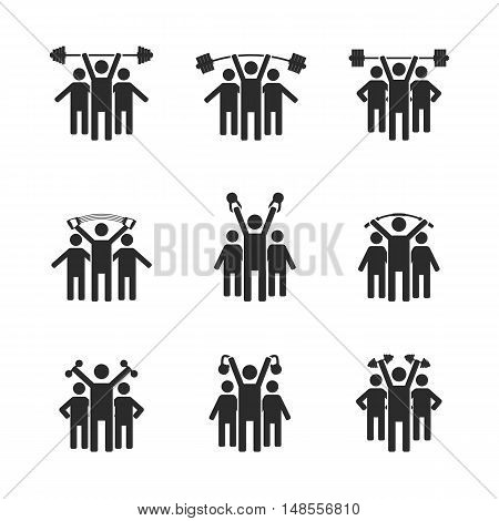 Set of black icons stick figures silhouettes athletes with sports equipment people icons vector illustration.