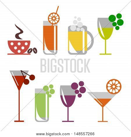 Vector set of colorful illustration of cocktails with fruits, coffee with grains, beer and wine glass, isolated on the white background. Series of Food and Drink Object, Icons and Illustrations.