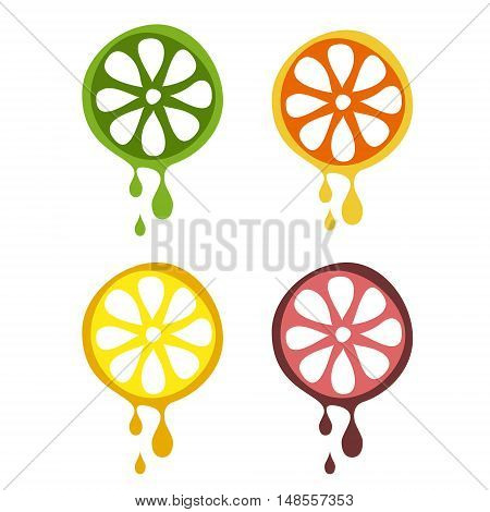 Set of vector illustrations of fruit. Half of lime, orange, lemon and grapefruit in droplets of juice, isolated on the white background. Series of Fruits and Vegetables vector Illustrations.