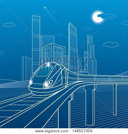 Train move on the bridge. Business center, architecture, transport and urban illustration, neon city, white lines on blue background, skyscrapers and towers, vector design art