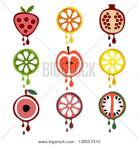 Set of vector illustrations of fruits. Half of strawberry, lime, pomegranate, apple, orange, cherry, watermelon, lemon and grapefruit in droplets of juice. Series of Fruits vector Illustrations.