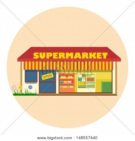 Digital vector super market building icon with open storefront and product shelves, flat style