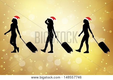 silhouette of christmas young woman with luggage