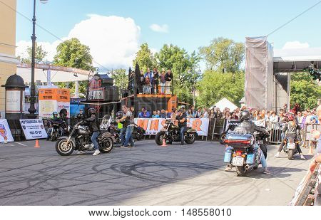 St. Petersburg, Russia - 12 August, Bikers at the site for a ride,12 August, 2016. The annual International Festival of Motor Harley Davidson in St. Petersburg Ostrovsky Square.