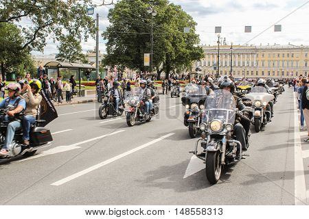 St. Petersburg, Russia - 13 August, Bikers leaving from Palace Square,13 August, 2016. The annual parade of Harley Davidson in the squares and streets of St. Petersburg.