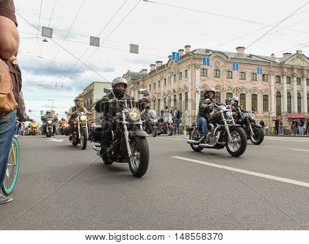 St. Petersburg, Russia - 13 August, Bikers traveling on the Green Bridge,13 August, 2016. The annual parade of Harley Davidson in the squares and streets of St. Petersburg.