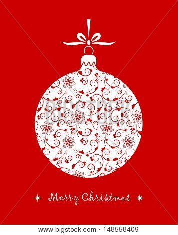 vector christmas ball with ornamental decor isolated on red background