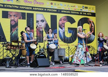 St. Petersburg, Russia - 13 August, Execution of national music,13 August, 2016. Africa and the Russian Culture Festival on Krestovsky Island in St. Petersburg.