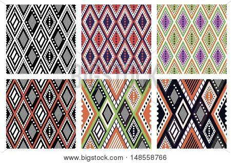 Set of seamless vector geometric colorful patterns with ornamental elements, endless background with ethnic motifs. Graphic vector illustration. Series- sets of vector seamless patterns.