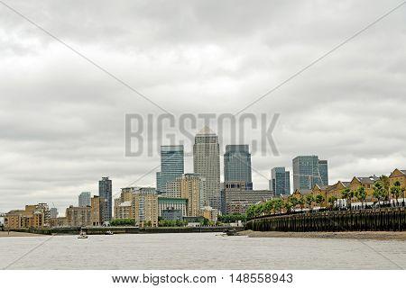 London skyline on a cloudy day England.