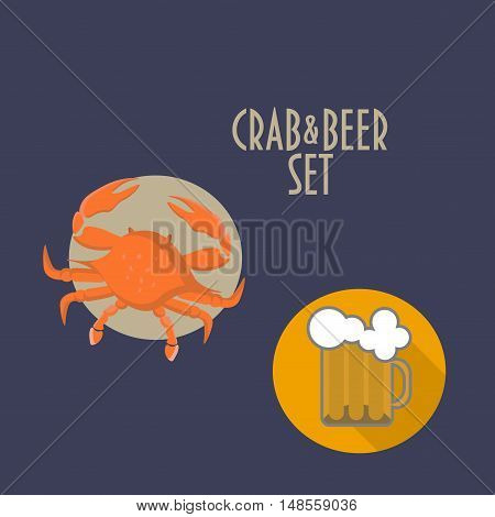 Crab and Beer Vector Icons Set is good for seafood restaurant or pub with marine menu as site icons, club stickers, menu elements, promotions, point of sale materials, t-shirt stamps, clothes prints.