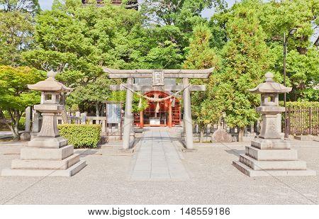 KYOTO JAPAN - JULY 23 2016: Yashima Shinto Shrine on the grounds of Toji Buddhist Temple in Kyoto. Dedicated to Oonamuchi-no-kami lord of the land