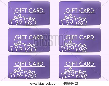 Gift card with a gift box. Realistic gift card with a gradient background. Set of vector illustrations.
