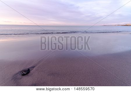 Beach And Wave At Sunrise Time