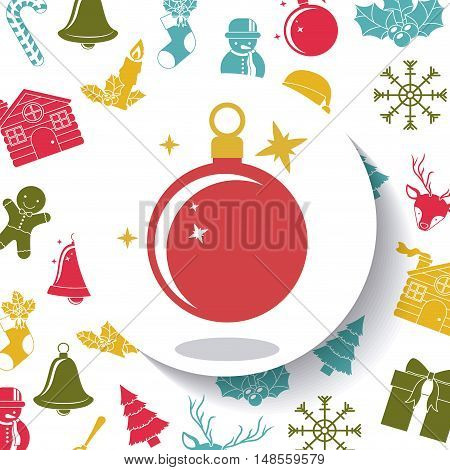 Sphere inside circle icon. Merry Christmas season and decoration theme. Colorful design. Vector illustration