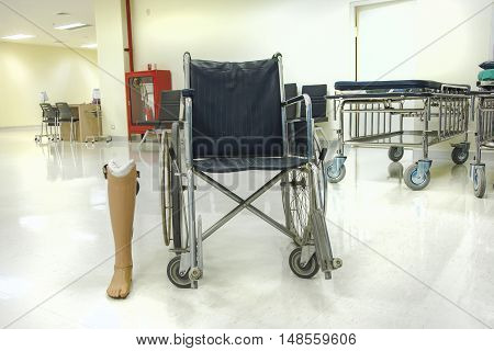 Prostheses near the wheelchair  in the hospital
