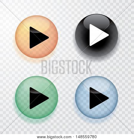 vector collection of four transparent play buttons with shadow