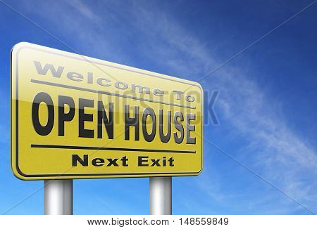 Open house or model house viewing before sale or renting a new home 3D, illustration