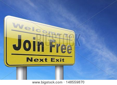 join free membership make member account 3D, illustration