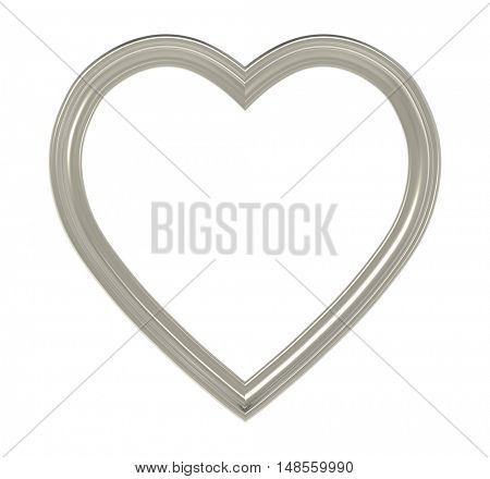 Titanium heart picture frame isolated on white. 3D illustration.