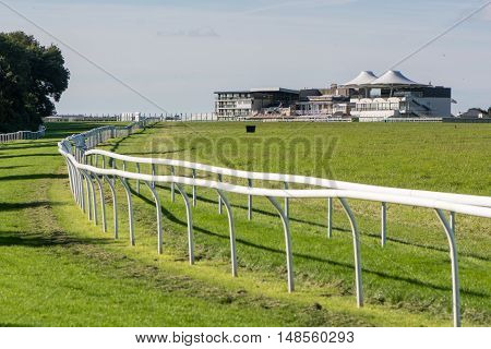 Bath Racecourse Langridge grandstand and track. Thoroughbred horse racing venue on Lansdown Hill near Bath Somerset UK