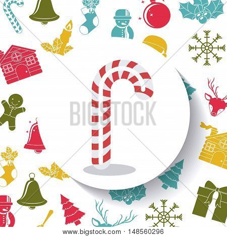 Candy inside circle icon. Merry Christmas season and decoration theme. Colorful design. Vector illustration