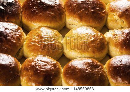 Homemade buns. Fresh mushy homemade scones background