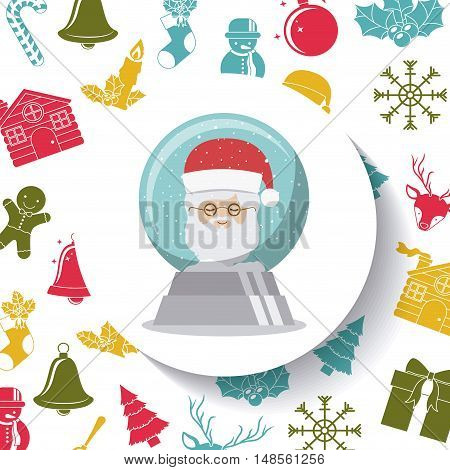 Santa sphere inside circle icon. Merry Christmas season and decoration theme. Colorful design. Vector illustration