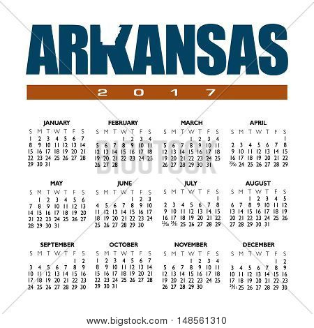 A 2017 creative Arkansas calendar with the state outline