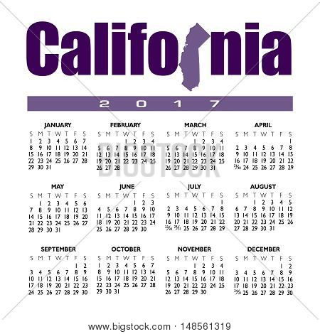 A 2017 creative California calendar with the state outline