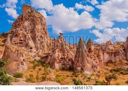 Amazing landscape of volcanic origin in Cappadocia, Turkey