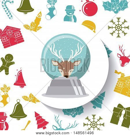 Reindeeer sphere inside circle icon. Merry Christmas season and decoration theme. Colorful design. Vector illustration