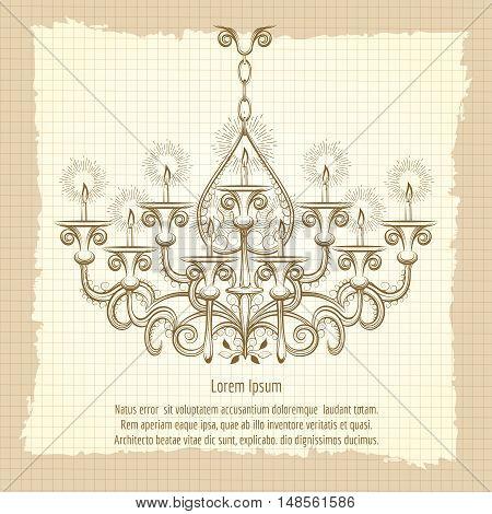 Antique gothic chandeliar sketch on vintage background. Retro poster vector illustration