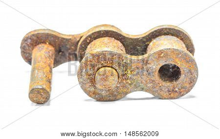 Close up of Old chain Isolate on white background