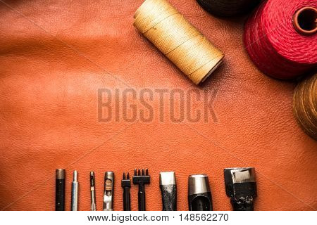 Background Of Leather Craftsmanship With Tool
