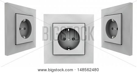 European wall outlet on white background. 3D rendering set