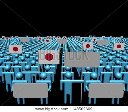 Crowd of people with signs and Japanese flags 3d illustration