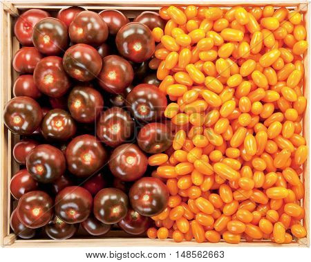 Mix tomatoes in a box raw vegetables raw