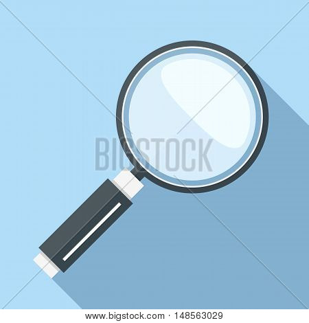Magnifying glass icon, flat design with long shadow, vector eps10 illustration