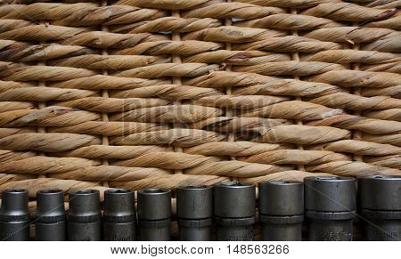 construction tools lying on a wicker basket