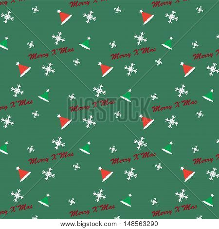 conceptual Christmas pattern background vector illustration image showing Merry X'mas text party hats and snowflakes