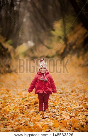 Little Girl In Red Coat At Scenic Fall Park