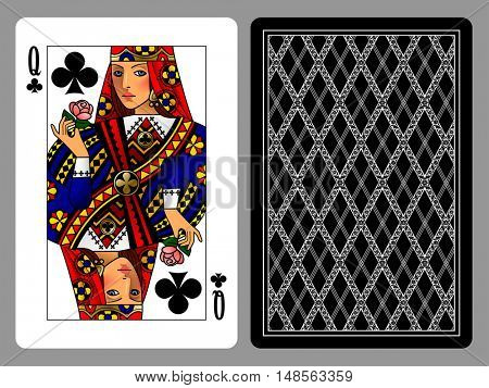 Queen of Clubs playing card and the backside background. Colorful original design. Vector illustration